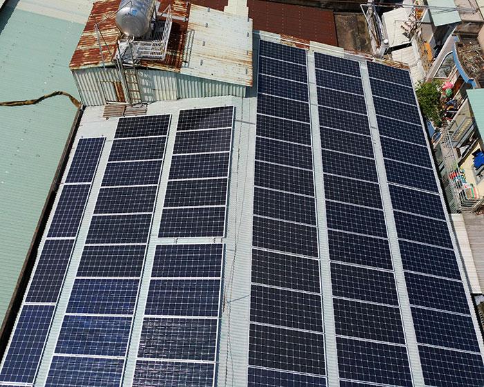 Lắp đặt điện mặt trời hòa lưới 57KWp để kinh doanh nhà trọ ở Tân Phú 10
