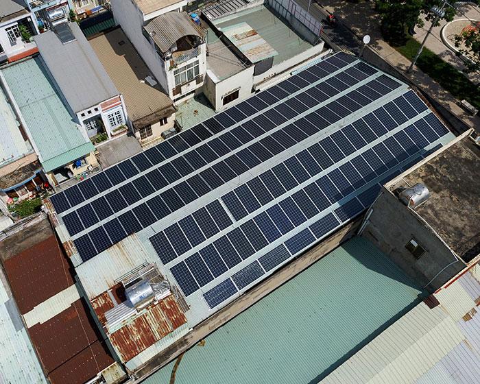 Lắp đặt điện mặt trời hòa lưới 57KWp để kinh doanh nhà trọ ở Tân Phú 5