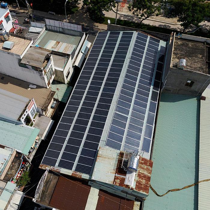 Lắp đặt điện mặt trời hòa lưới 57KWp để kinh doanh nhà trọ ở Tân Phú 6