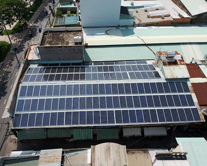 Lắp đặt điện mặt trời hòa lưới 57KWp để kinh doanh nhà trọ ở Tân Phú 8