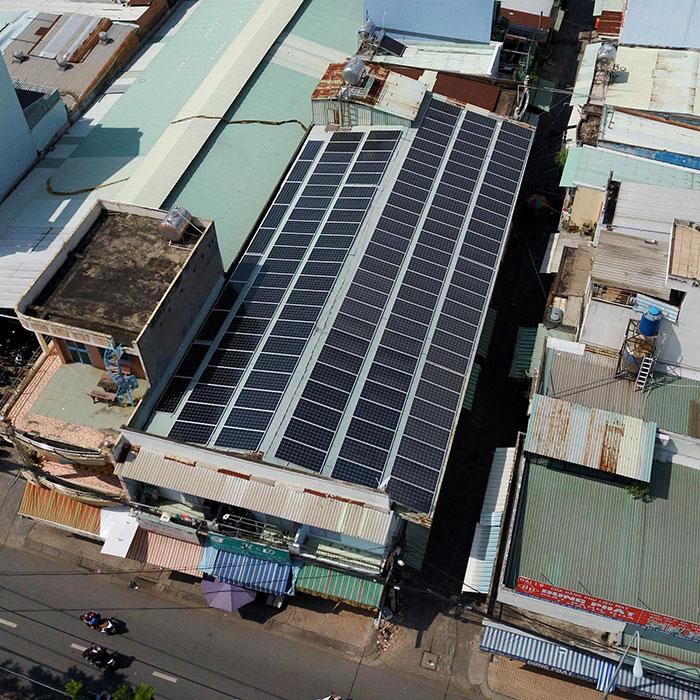 Lắp đặt điện mặt trời hòa lưới 57KWp để kinh doanh nhà trọ ở Tân Phú 9