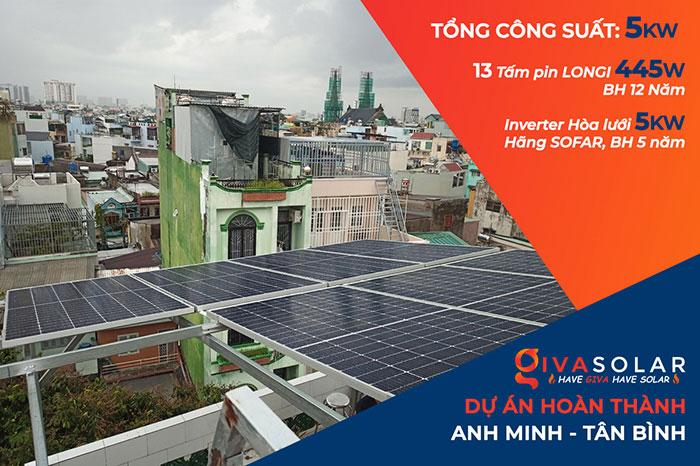 hệ thống điện mặt trời hòa lưới 5KW cho anh Minh ở Tân Bình