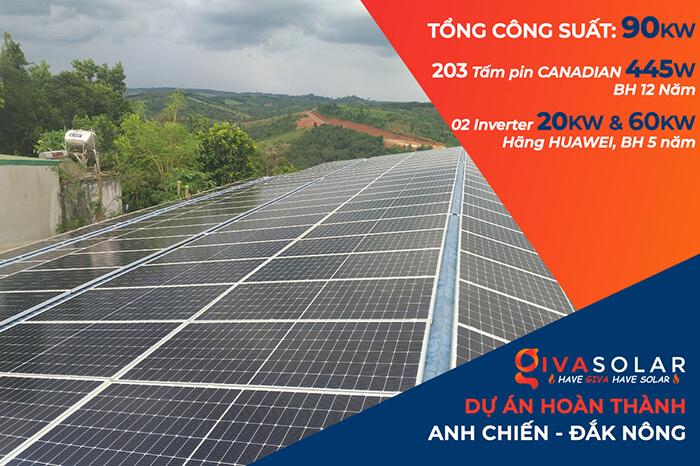 Dự án điện mặt trời hòa lưới 90KW cho gia đình anh Chiến ở Đắk Nông