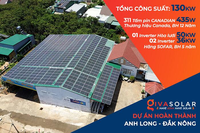 Dự án điện năng lượng mặt trời hòa lưới 130KW cho anh Long ở Đắk Nông