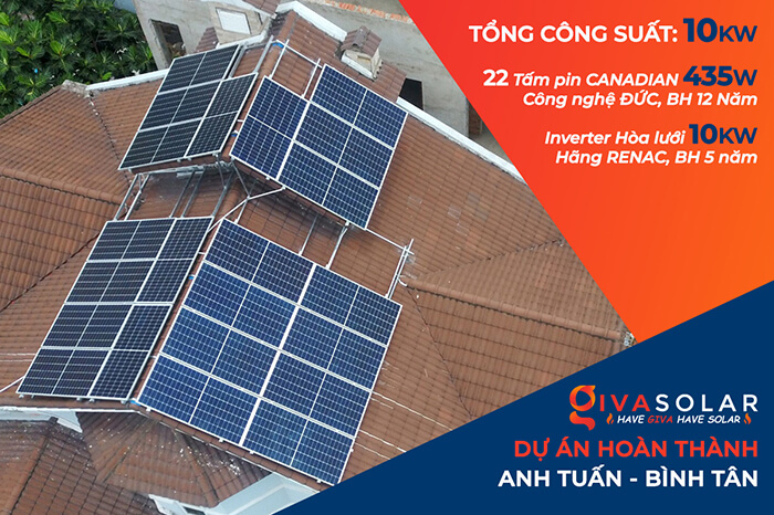hòa lưới điện mặt trời cho gia đình anh Tuấn ở Bình Tân với 10KW
