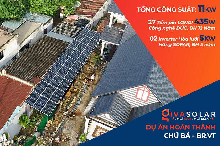 Hệ thống điện mặt trời cho gia đình chú Bá 11KW ở Bà Rịa Vũng Tàu