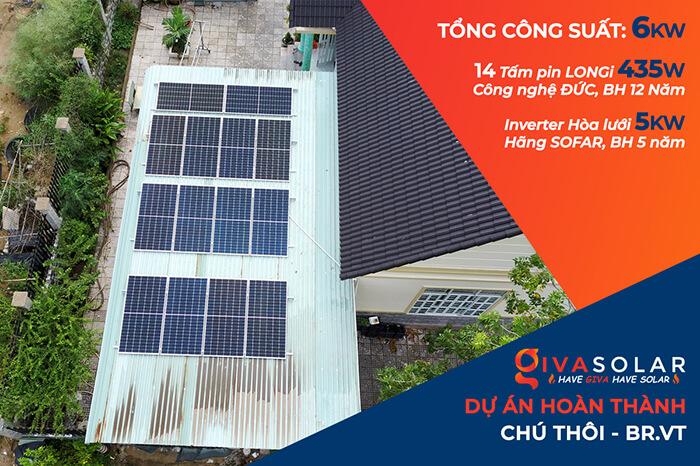 Lắp đặt hệ thống điện năng lượng mặt trời 6KW cho chú Thôi ở BRVT