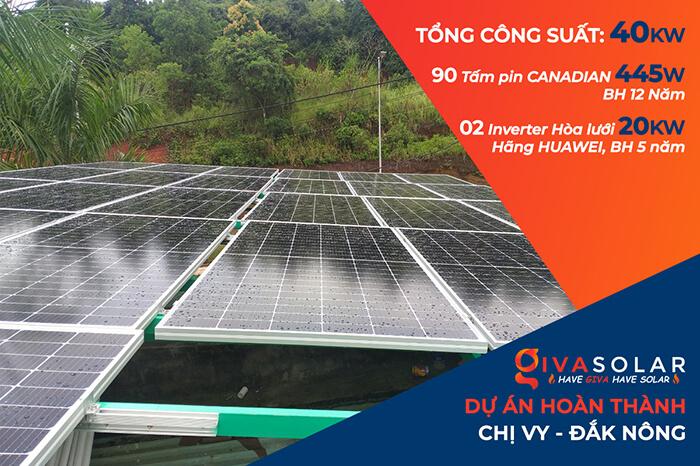 Hoàn thành lắp hệ thống điện mặt trời 40KW cho chị Vy ở Đắk Nông