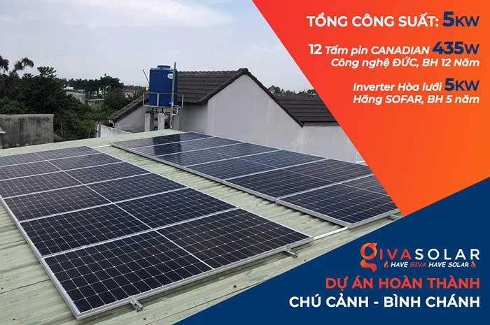 Lắp đặt hệ thống điện mặt trời 5KW cho chú Cảnh ở Bình Chánh