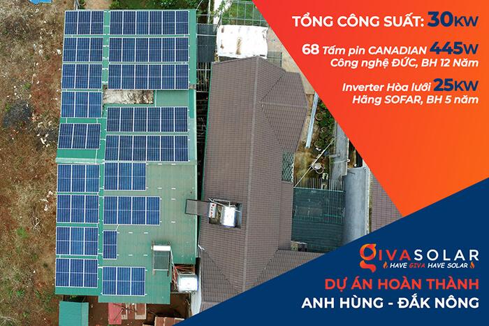 Hệ thống hòa lưới 30KW cho anh Hùng ở Đắk Nông