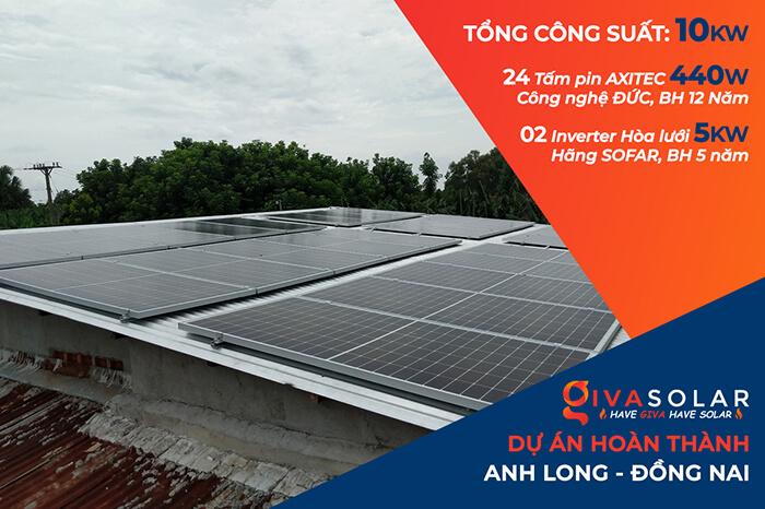 dự án điện mặt trời hòa lưới 10KW cho gia đình anh Long ở Đồng Nai