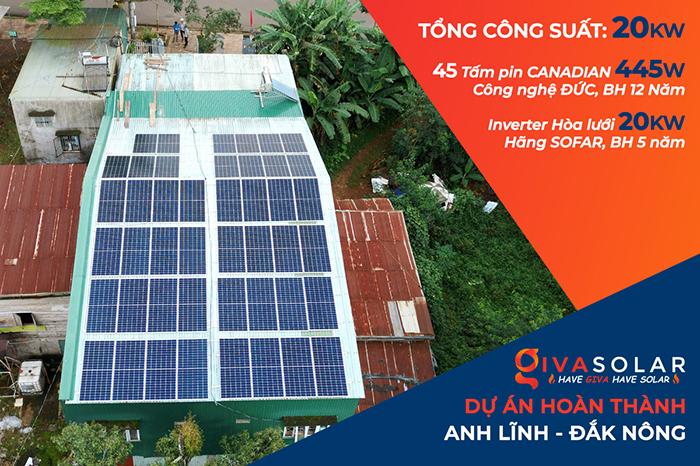 Hệ thống điện mặt trời hòa lưới 20KW cho anh Lĩnh đắk nông