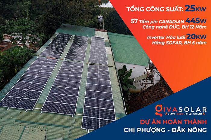 Hệ thống điện năng lượng hòa lưới 25KW của chị Phượng ở Đắk Nông