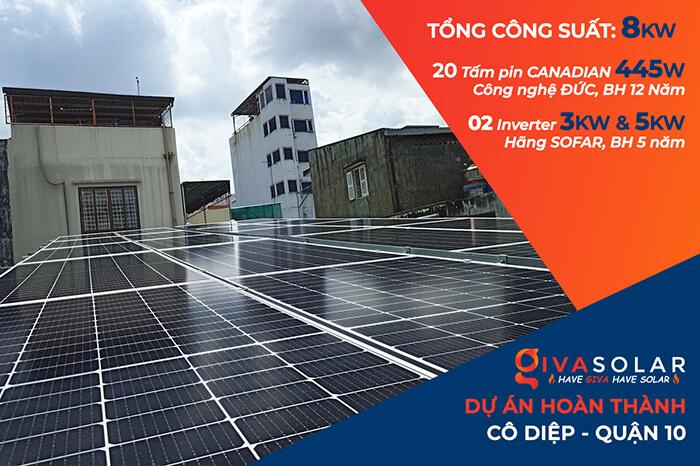 hệ thống năng lượng mặt trời hòa lưới 8KW cho cô Diệp ở Quận 10