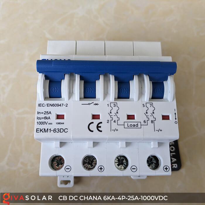 MCB DC CHANA 4P-6KA-25A-1000VDC EKM1-63DC 1