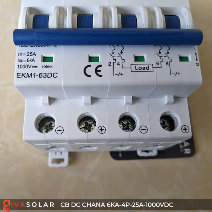 MCB DC CHANA 4P-6KA-25A-1000VDC EKM1-63DC 11