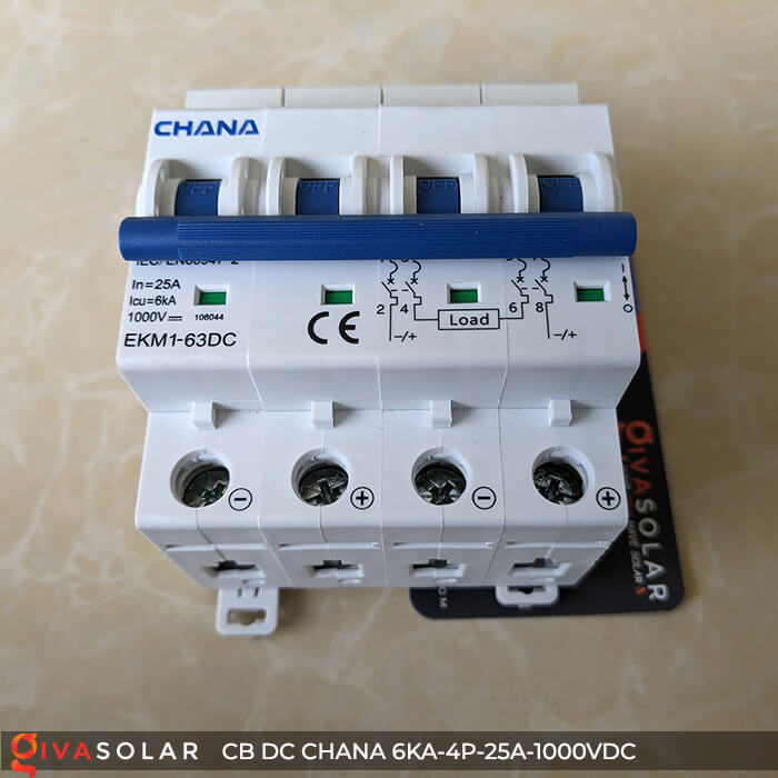 MCB DC CHANA 4P-6KA-25A-1000VDC EKM1-63DC 2