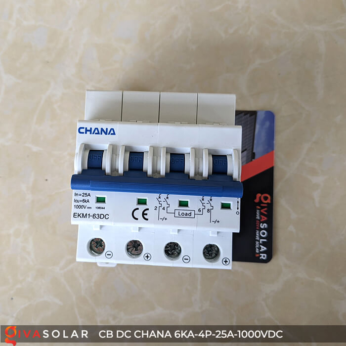 MCB DC CHANA 4P-6KA-25A-1000VDC EKM1-63DC 4