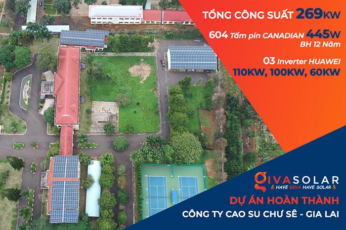 Dự án điện mặt trời hòa lưới 269KW cho Công ty cao su Chư Sê Gia Lai