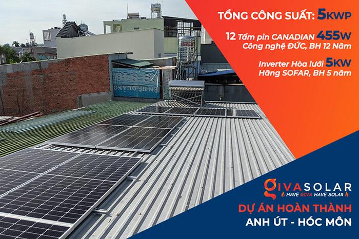 Dự án điện mặt trời hòa lưới 5KW cho anh Út ở Hóc Môn