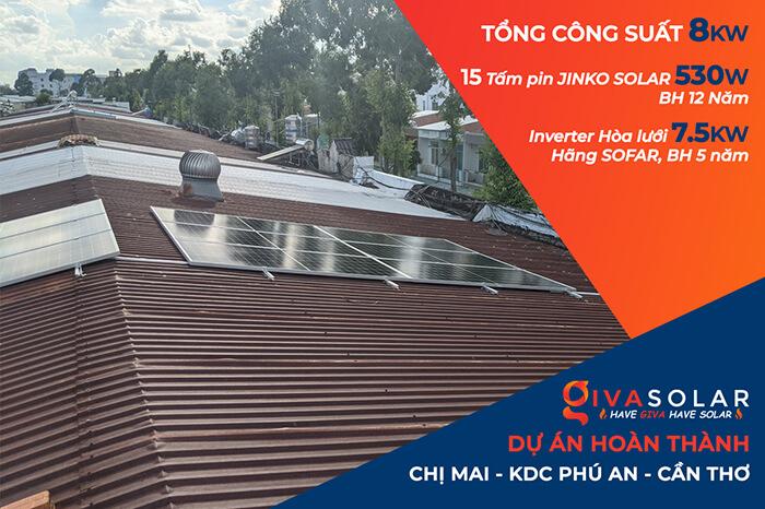 Dự án điện mặt trời hòa lưới 8KW ở Khu dân cư Phú An Cần Thơ