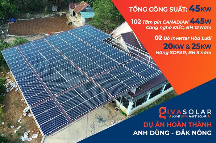 Hoàn tất dự án điện mặt trời hòa lưới 45KW cho anh Dũng ở Đắk Nông