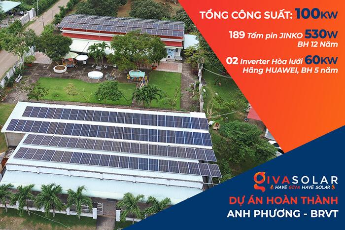 dự án hòa lưới điện mặt trời 100KW cho anh Phương ở Bà Rịa Vũng Tàu