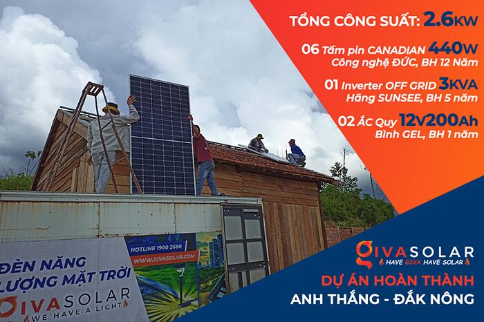 Hệ thống điện mặt trời độc lập 2.6KW ở Đắk Nông