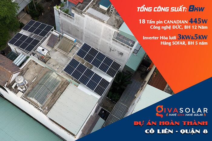 điện mặt trời hòa lưới áp mái 8KW cho cô Liên ở Quận 8