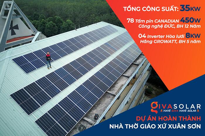 Dự án điện mặt trời hòa lưới 35KW cho Nhà thờ giáo xứ Xuân Sơn