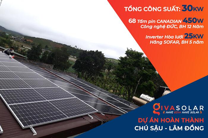 Dự án lắp điện mặt trời hòa lưới 30KW cho chú Sậu ở Lâm Đồng