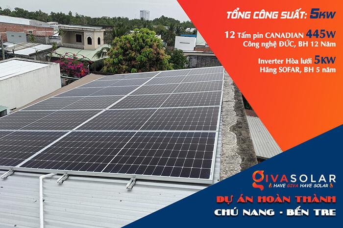 hệ thống năng lượng mặt trời 5KW cho chú Nang ở Bến Tre