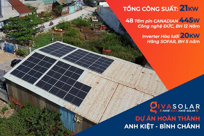 Lắp đặt điện mặt mặt trời lần 2 cho Anh Kiệt ở Bình Chánh với 21KW