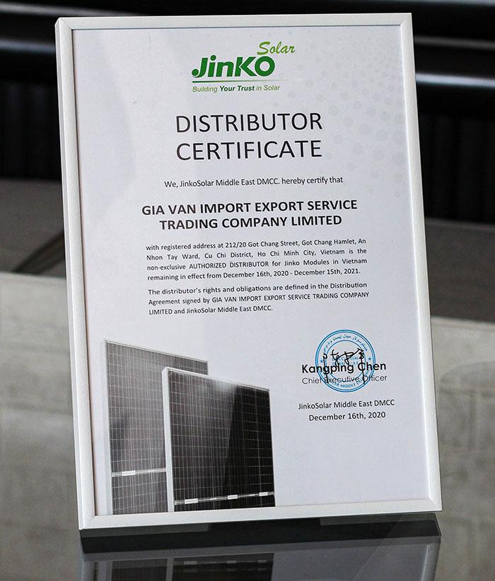 Giấy chứng nhận phân phối jinko solar chính thức