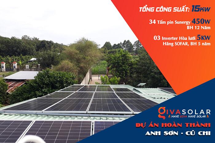 Dự án hòa lưới năng lượng mặt trời 15KW cho gia đình anh Sơn Củ Chi