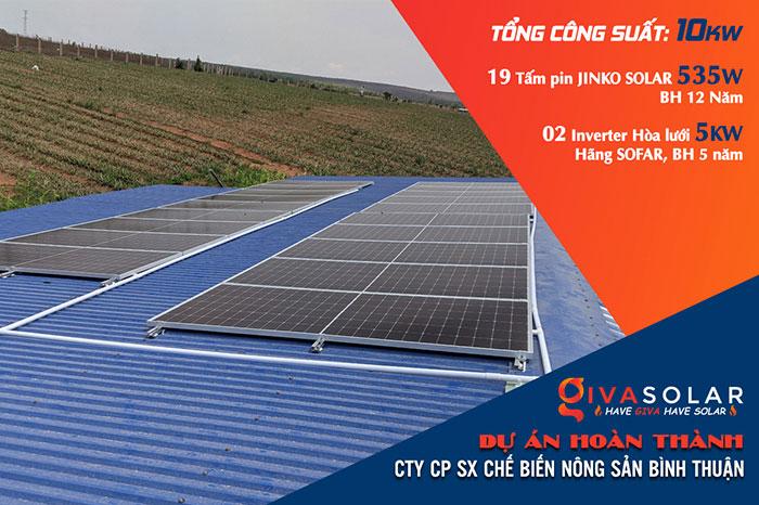 Hoàn thành dự án 10KW cho Công ty Chế Biến Nông Sản Bình Thuận