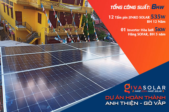 Dự án điện mặt trời hòa lưới bám tải 6KW cho anh Thiện ở Gò Vấp