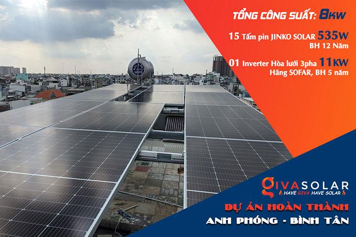 Dự án điện mặt trời hòa lưới bám tải 8KW anh Phóng ở Bình Tân