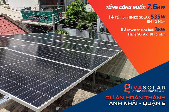 dự án hòa lưới điện mặt trời 7.5KW cho anh Khải ở Quận 9