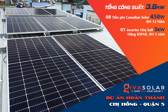 Hoàn thành hệ thống điện mặt trời hòa lưới 3,6KW cho chị Hồng Quận 5
