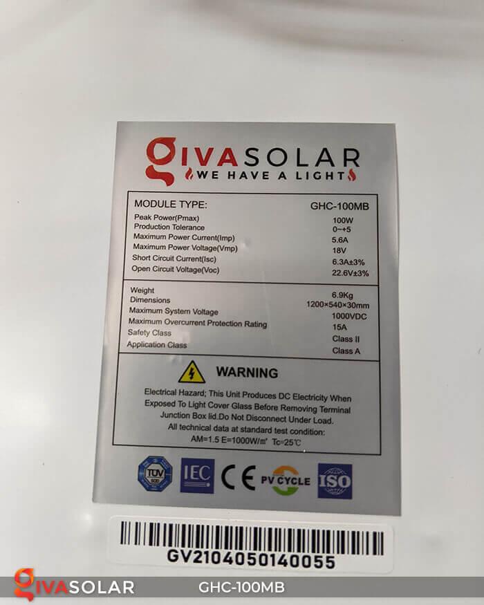 Tấm pin năng lượng mặt trời Mono 100W 12