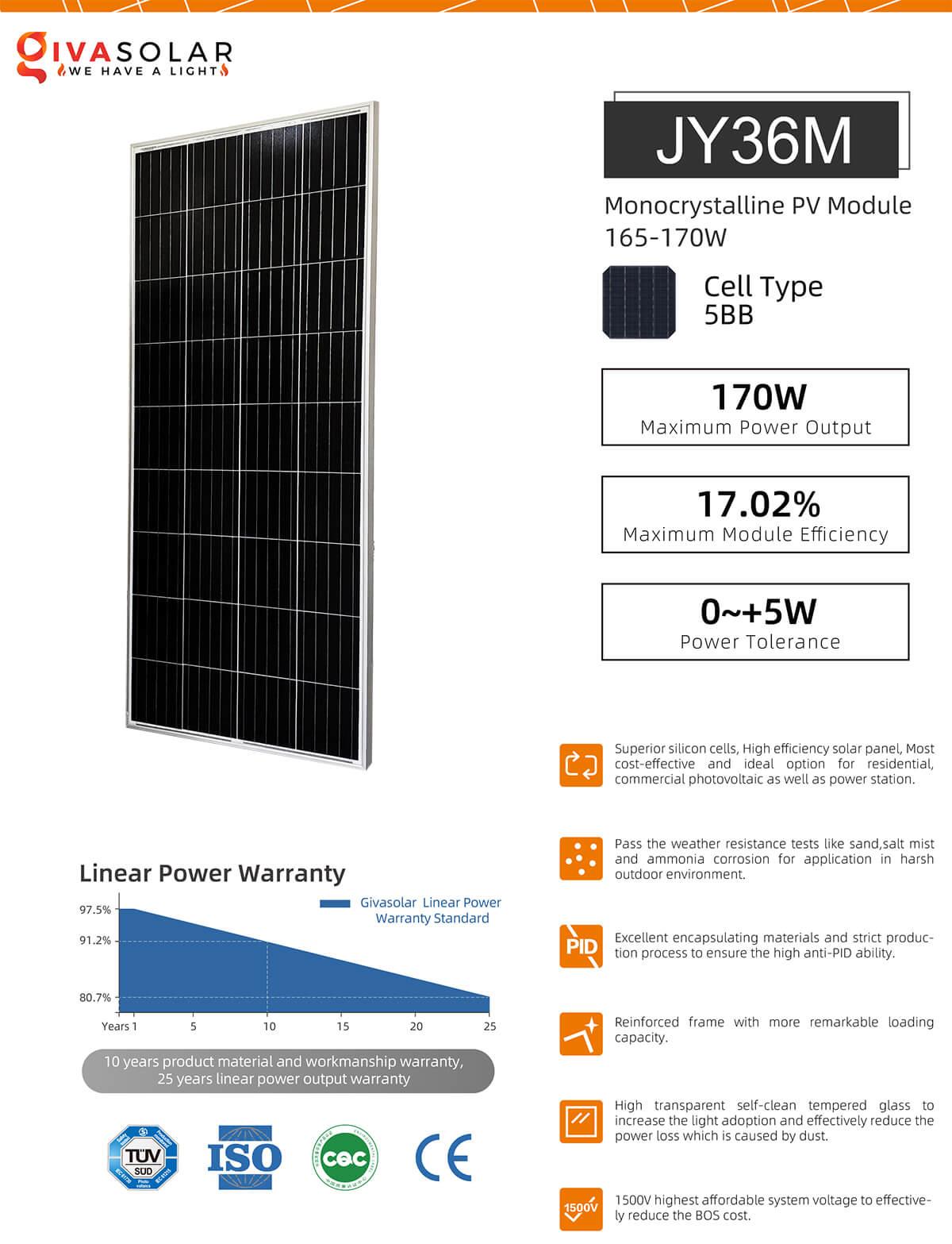 Pin mặt trời mono 170W 14